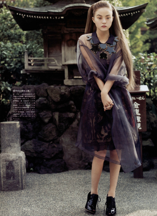 "Devon Aoki (thank you idreamofaworldofcouture) One Day in Tokyo for Vogue…Nippon, I think? She is the most unique looking model I have ever come across and she's definitely not the of usual sort. Though, saying ""usual"" sort implies that most models are the same, but that's definitely not true; Lindsey Wixson, Daphne Groenveld etc."