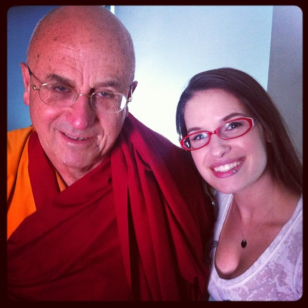 ".@CaraSantaMaria poses with Matthieu Ricard, dubbed by the media as ""the happiest person in the world."" (Taken with instagram)"