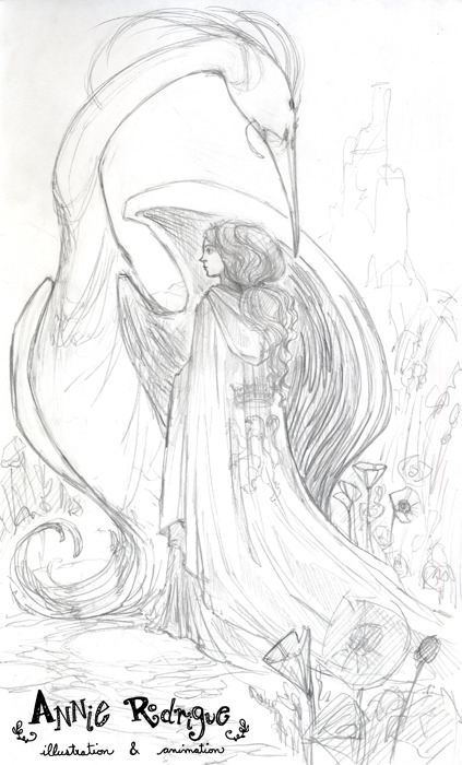 """The Firebird's Bride"" - Sketch This is an almost feverish sketch. I needed to sketch/paint something for myself today. I hate when this happens because I just cannot focus on anything until I indulge. That is especially bad when you have work to do. I still managed to get work down before I started sketching this though.This still needs a lot of fixing. The phoenix has a lot of problems, the head is too big, the wings are odd. There needs to be a castle in the back. Right now it's just a blurb. But hopefully, more to come soon!"