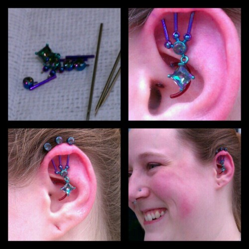 Fresh triple industrial piercing on @jkdezember! Mystic topaz gems FTW, with better pictures to come. Done by Bryan Thomas at [Born This Way Body Arts - Knoxville, TN]