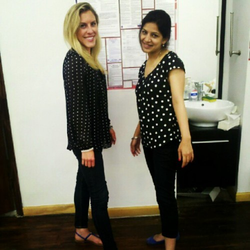 Mind twins in the office today: polka dots and cobalt shoes! #fabulous (Taken with instagram)