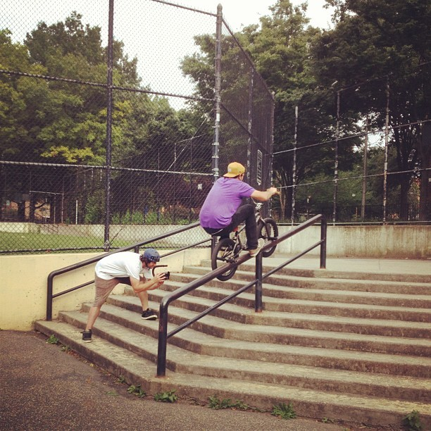 Zach Rogers double peg up. #bmx #eastern #nyc #bikes (Taken with instagram)