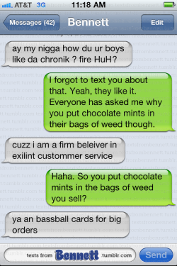 textsfrombennett:  Bennett the Salesman