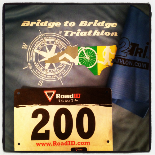 I just picked up my race packet! I'm trying not to psych myself out—I know I can do this. Less anxiety, more confidence.  I went for a short run today—1.6 miles in 16 minutes! 9:52 pace, I think. I remember a year ago I was itching to be able to run a 10 minute mile, and now I can beat even that. It feels awesome.  I drove the bike route today—pretty intimidating, but I'm excited to just get into it. I hope once I'm on my bike I'll be fine.  I'm planning to get there around 6:15 or 6:30 tomorrow morning to set up and get familiar with everything, so this WILL be my last post until after the race.  Wish me luck! Thanks for following me and encouraging me on this crazy ride… It all comes to head tomorrow morning at 8 a.m.!
