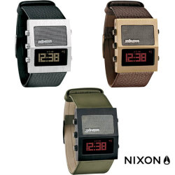Nixon 'The Dictator' Watch. Created with a retro digital face and imported leather band, this watch records Dick Tracy style. Up to 8 different recordings (3.5 minutes) that can be used as an alarm, hourly chime, or simply to blackmail your friends.