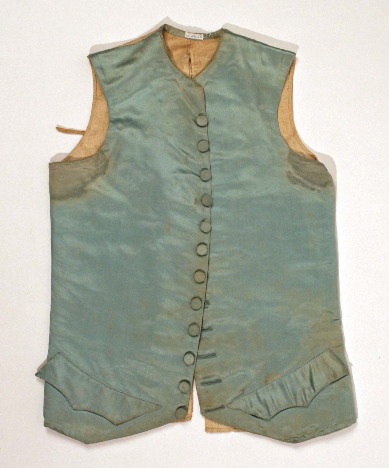 18th-century pit stains.  A silk and linen waistcoat, in the Metropolitan Museum of Art's collection.