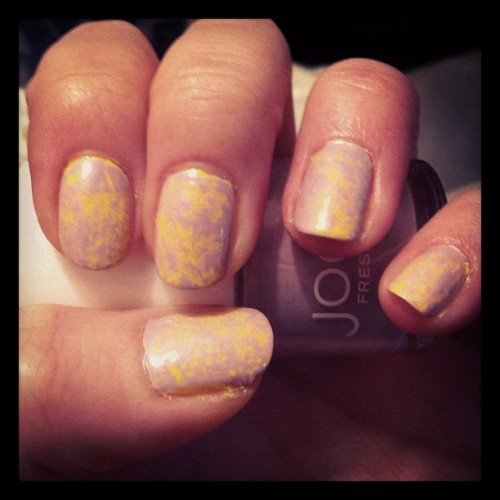 Purple & yellow saran wrap nails