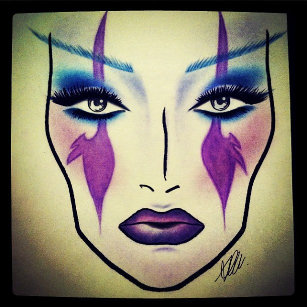 Looks like I'll be doing #makeup on a #facechart for the rest of my life 😔 oh well I tried.. This is a #nightelf #inspired #look I did heh. #worldofwarcraft #WoW #nerd #lipstick #eyes #eyemakeup #lashes #eyelashes #mua #macfacechart #mac #purple #blue  (Taken with instagram)