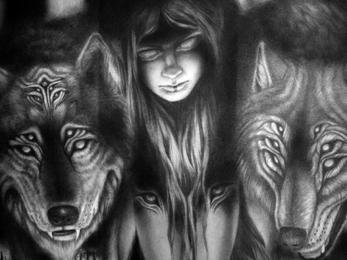 iamthunderbeast:  Raised by Wolves; a close up of new graphite drawing