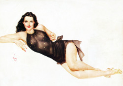 vintagegal:  Hedy Lamarr illustration by Alberto Vargas, 1947