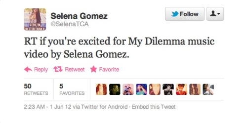 "Although no confirmation has been sent out by Hollywood Records or Selena herself, this tweet was Re-tweeted by Rock Mafia! They produced the possible-upcoming-single ""My Dilemma"" !!!  IS IT TRUE? IS IT TRUE?!!!!"