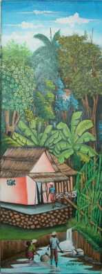 haitianartshowcase:  House in the woods By Joseph Aderson 12x32 in. Oil paintingPrice: $125.00