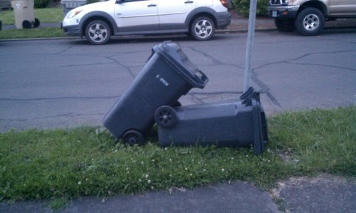 partouse:  a trashy couple is going at it in the front yard.