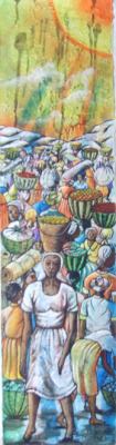 haitianartshowcase:  The Outdoor Market By J.F. Casimir Painting Size: 10x39 in oil paintingPrice:  $125.00