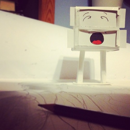 Tired but imsomniac late nite drawing with Jack #Art #design #toy #awesome #fun #funny #lol #comics #italian #style #papertoy #cardboard #igitalia #earlybird #eb #eblovers #igeurope #iphone #iphoneography #awesome #cool #instagood #mood #instamood #box #jack #kawaii #cute #sweet (Scattata con instagram)