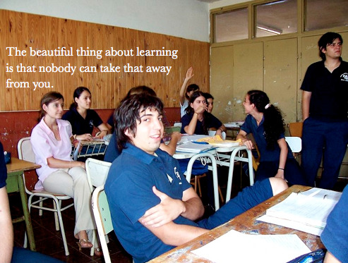 The beautiful thing about learning is that nobody can take that away from you.  B.B.King  photo attribution