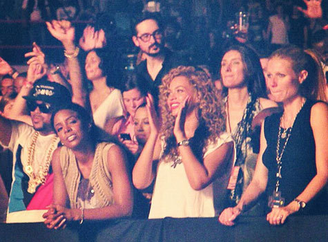 Beyoncé, Kelly Rowland and Gwyneth Paltrow at last night's Watch The Throne concert in Paris.