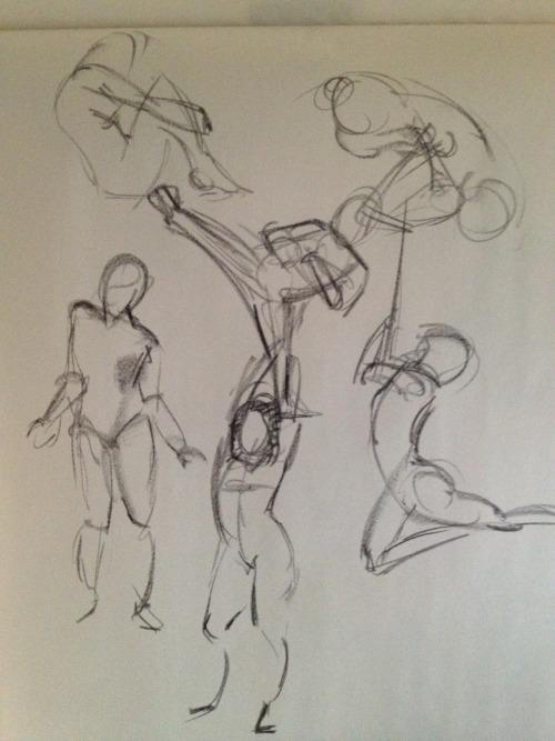 More gesture practice… proportions are still kind of yucky, but at least I found one reason why. I'm using an easel now to encourage myself to work bigger and when the drawings get below my vision, I forget to compensate for the perspective effects. Woopsie.