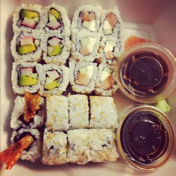 sincerelycassandraa:  🍣🍣🍣 #Sushi #Phillyroll #Shrimptempura #Californiaroll #Instafood #Deliciousness #Foodporn #Yum #Food #Instagood (Taken with instagram)