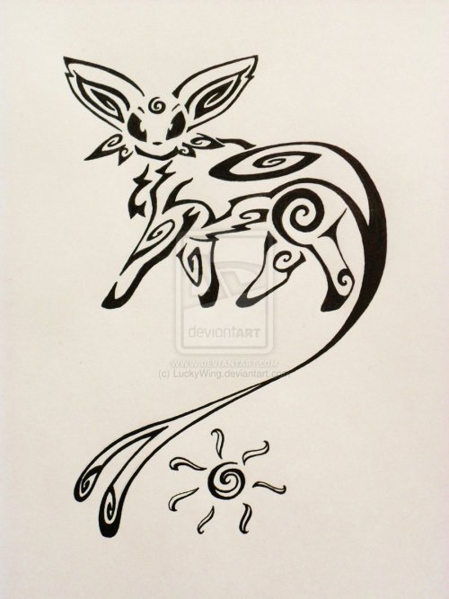 pokemonfourever:  Tribal Espeon Tattoo by ~LuckyWing