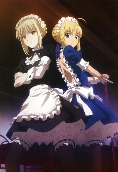 ultimaknight:  To not share this awesome Saber x Saber Alter maid pic would be a crime!!  Agreed. XDv