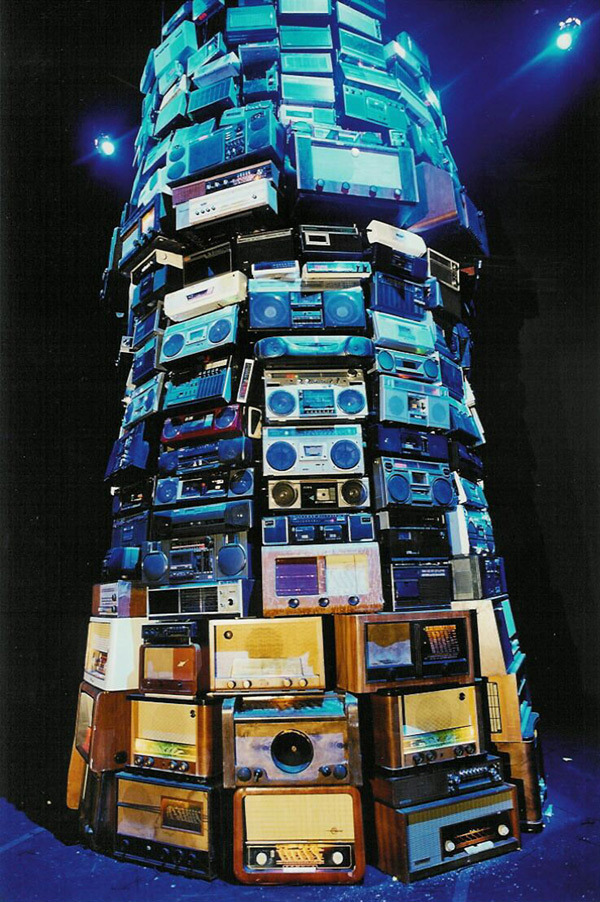 cavetocanvas:  Cildo Meireles, Babel, 2001  Sound is another of the elements Cildo Meireles uses to create spaces. In Babel, 2001, an enormous tower of radio apparatuses, related to the biblical history of the tower of Babel, is suggestive of the incapacity to communicate as a cause of all human conflict. Due to the essentially temporal nature of a medium like the radio, in this work there are never two experiences alike. (via)