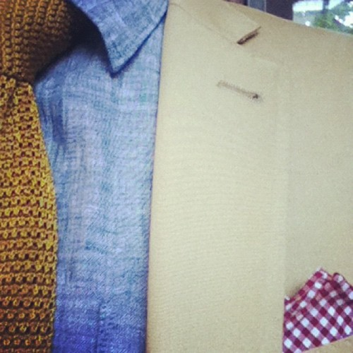 Summer color palette. #Khaki #Chambray #VintageMustard #CustomRedGingham  (Taken with Instagram at Willowdale Estate)