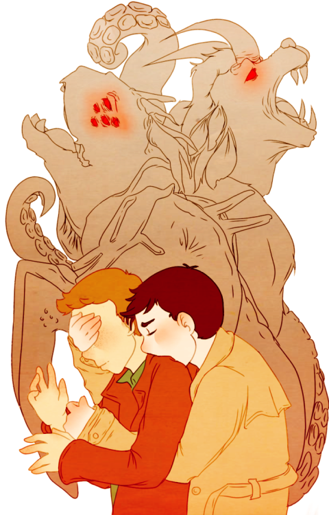 "flutiebear:  octopirecipes:  ""I'll keep you safe.""  ""Close your eyes,"" Cas commanded. ""Don't look."" ""But I—"" Then suddenly Dean could say no more, as a pair of strong arms grabbed him from behind. Dean froze, throat tightening. One of the hands clapped firmly over his eyes. The other settled on his shoulder. The angel's breath fell hot and heavy on the back of his neck, causing the little hairs there to stand on end. ""I said,"" Cas murmured, ""don't look."" Dean could feel his treacherous hands began to shake. ""Okay,"" Dean gasped. For a brief moment, Cas let his chin fall against Dean's shoulders, fitting there easily in the crook between neck and spine. Then suddenly all was warmth, and power, and screaming. It took Dean several seconds to realize that the voices weren't his; that he wasn't back in the Pit, surrounded by damned souls begging for misery.  That he remembered this too, this voice, holy and beautiful, and the song it sang; the paean that once brought him home.   Then, just as abruptly as the song began, it stilled. Silence fell. The warmth subsided. Slowly, gently, Cas lifted his hand away, smearing wetness across Dean's cheeks. Dean did not open his eyes for a long moment. When he did, he wheeled around, noticed the bodies around them, and shuddered. ""Are you hurt?"" said Cas. Yes, Dean wanted to scream. ""I'm awesome,"" he said, dragging a hand over his tear-streaked face. ""Hell of a kick your voice has. Ever thought about starting a metal band?"" To Dean's surprise, Cas beamed at him. ""You didn't experience any pain,"" he said. ""No. I guess I didn't."" Part of Dean wanted to recoil from the admission, to flee into the Purgatory underbrush and take his chances with the beasts he found there. Instead, he forced a smirk. ""What do you think that means?"" ""It means we can change,"" said Cas in a voice that made Dean's chest ache. ""Even us. Even here."" ""Awesome,"" Dean managed eventually. Cas nodded. ""It really is."""