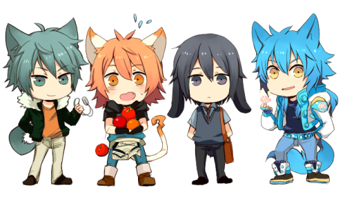 ryoplica:  Nitro+Chiral main characters. Instead of sleeping i did this instead lol.  Dog -> Cat -> Lop-eared Rabbit -> Fox? (i was basing on his nickname as Sly Blue lol) Too lazy to do the semes ehhh