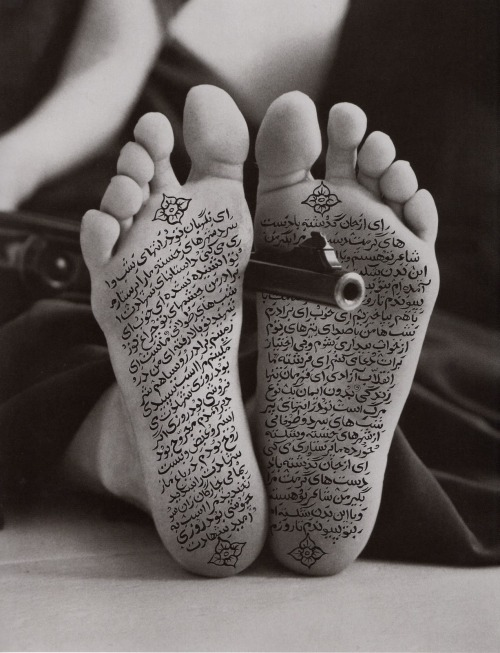 tndproject:  Shirin Neshat Iranian-born artist/videographer For the next couple of months we are going to looking at images of Muslim women artists to get inspired about our own photography project.