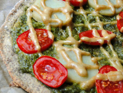 Tomato Potato Pizza with Pesto and Tahini 'Cheese' Sauce     (click image for recipe)