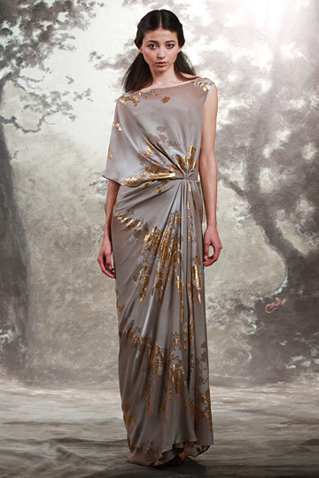 What would Arianne wear?An asymmetrical printed dress from Reem Acra Resort 2011.
