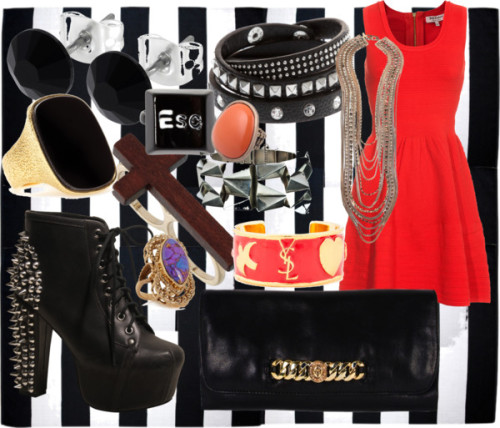 Night Out by emsaxx featuring a bronze ringJuicy Couture a line dress, €269Jeffrey Campbell lace up boots, £145Marc by Marc Jacobs leather clutch handbag, €301Alexis Bittar cuff jewelry, $2,200Yves saint laurent ring, $635Yves Saint Laurent shell jewelry, $276Chain necklace, £152Bronze ring, $70Sparkle jewelry, $33Miss Selfridge brown ring, $11Bracelet, $11ASOS button ring, $10Orange ring, €7,95