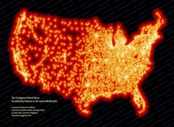 The United States, visualized by distance to the nearest McDonalds (via Strange Maps)