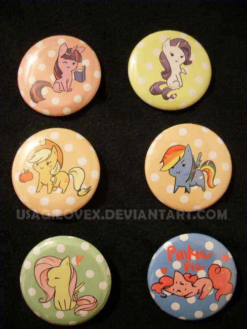 My Little Pony : Friendship is Magic chibi custom buttons.  They are 1.5inches in diameter. This is a set of 6 of the main ponies.  Purchasing the set comes with a free pony button of choice. If interested:  https://www.etsy.com/listing/99719933/cute-mlp-fim-chibi-set