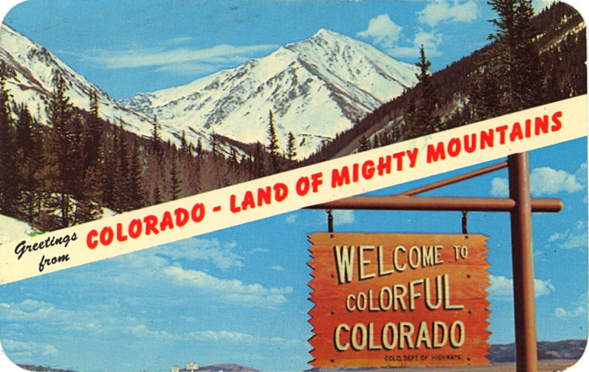"GREETINGS FROM COLORFUL COLORADO — LAND OF MIGHTY MOUNTAINS  Colorado is the state where the Rocky Mountains reach their highest elevations and their most spectacular beauty, including hundreds of peaks over 10,000 ft. in height. All these mountains afford thousands of miles of canons, streams, and verdant valleys that furnish fishing, hunting, skiing and all varieties of mountain recreation.  I think they meant ""thousands of miles of CANYONS…"""