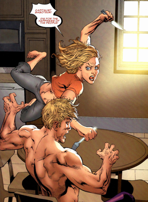 "boobytrapzap:  fuckyeah-nerdery:   Black Widow: Deadly Origin — #02  This is what happens when male comic book artists try to draw woman. This is also why we can't have nice things.  Comic book artists agree: Women do not have spines.  There's a ""In Soviet Russia…"" joke in here somewhere. (brought to my attention by dotcomslashpost)"