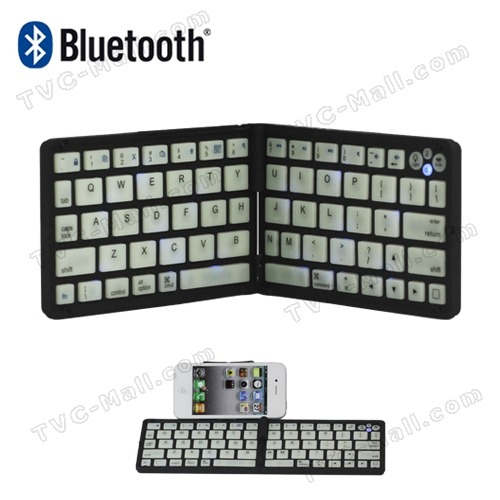 Folding Silicone V3.0 Bluetooth Keyboard for iPhone iPad Tablet PC Price: $ 29.12 Built-in wireless bluetooth 3.0 silicone keyboard Thin, easy-to-carry, auto-sleep and long standby time Blue backlight used at night without ligths environment Stylish folding design and can put on his knee typing Built-in displaying stand for easy viewing of your iPhone and mobile Special home screen key for one-touch access to variety of applications Built-in rechargeable battery with over 40 hours per charge Perfect for iPhone iPad and tablet PC Specification: Bluetooth V3.0 Interface Standard Operating Distance: 10 meters Modulation System: GFSK 2.4G Transmitting Power: Class 2 Operating Voltage: 3.0-5.0 Working Current: <5.0mA Standby Current: 2.5mA Sleeping Current: <200μA Charging Current: >100mA Standby Time: 40 days Lithium Battery Capacity: 300mAh Package Included:  1 x Folding Bluetooth V3.0 Keyboard 1 x Micro USB Cable (Length 68cm) 1 x English User's Manual