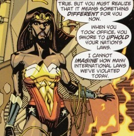 Wonder Woman of Earth 23 sporting a goatee.