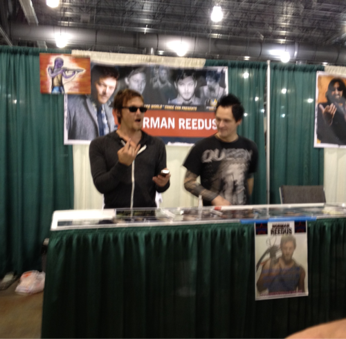 This photo was taken just after Norman took the picture with the ParaNorman characters that he posted on the Twitter. This was also just after he learned they were from a movie called ParaNorman, ha! Cute guy was stoked!