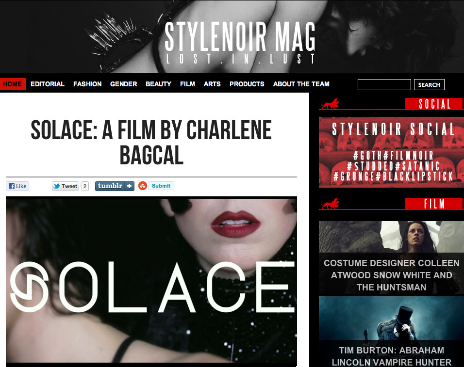 My fashion film, 'Solace,' featured with Stylenoir magazine (UK)