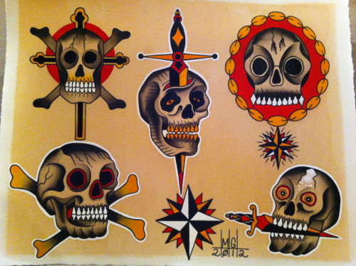 tattooingbymax:  Just finished this painting it's always fun to paint skulls so why not do five of them thanks for looking