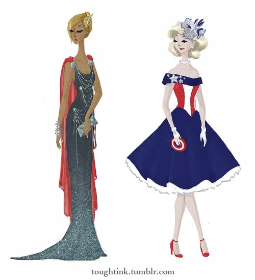toughtink:  THE FIRST IN THE SERIES OF AVENGERS GOWNS! so here's thor and captain america as evening wear. click through for more info. iron man and hulk are up next!!