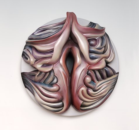 "montanablackart:  Judy Chicago, Georgia O'Keeffe Plate #1, 1979; sculpture; china paint on ceramic, 14 7/8 in. x 14 5/8 in. x 4 3/4 in. (37.78 cm x 37.15 cm x 12.07 cm); Collection SFMOMA, Gift of Mary Ross Taylor; © Judy Chicago / Artists Rights Society (ARS) New YorkSource: http://www.sfmoma.org/explore/collection/artwork/4353##ixzz1wbWlzalBSan Francisco Museum of Modern Art Georgia O'Keeffe may have denied the often noted similarity of her flowers to the vaginal opening, claiming it was only an interest in scale that led to the flower paintings, but Chicago in her place setting(the above)left no ambiguity. It was a new view of the female sex organ as a source of creativity and power. My thought was, ""Of course, even Courbet portrayed it as the origin of it all."" I Made ceramics at the time I saw ""The Dinner Party,"" and found it hard to take my eyes from those amazing pieces: subtle, brilliant variations in the founding of us all, of woman and earth. - Keith Lehrer; Art, Self and Knowledge     It's beautiful."