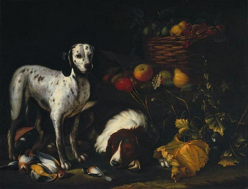 Antoine Plamondon Still Life with Two Dogs  1888