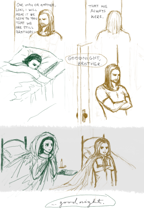 "a scene from an avengers rp.  also, tiny thor is all like, ""do not fear, brother! i won't let any monsters past me! you may rest at ease!"" (… but then he fell asleep before tiny loki did.)"