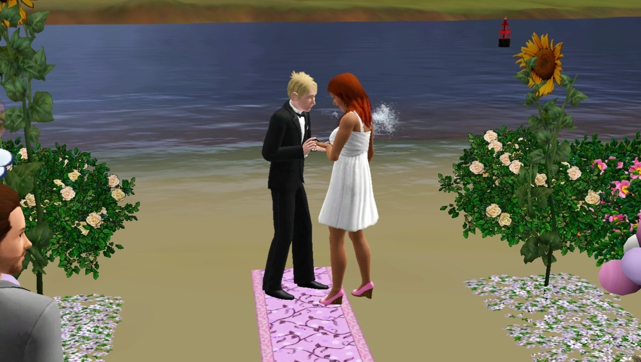 "fuckyeahsimsmeme:    So, my sims decided to get engaged. And it was a BEAUTIFUL wedding. I set everything up so perfect and took so many wonderful pictures, and everyone came to the wedding. It was great. But as soon as they said ""I Do"" and kissed, my game glitched out or something and my sim proceeded to take off her wedding dress and run around the beach in nothing but a tank top. She had on no pants or underwear and there wasn't even any censor over it. WTF?"