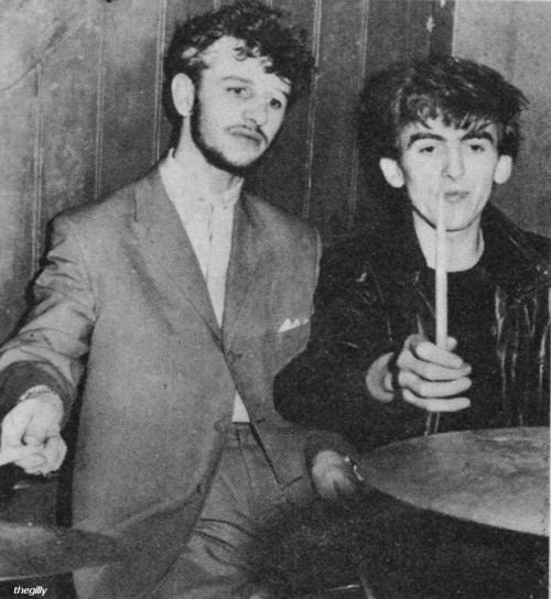 Ringo and George at the Tower Ballroom, Autumn 1961. Ringo hadn't joined the Beatles yet, he was still drumming for Rory Storm and the Hurricanes who were on the same bill as the Beatles that night.  Scan from 16 Magazine, Feb 1965.