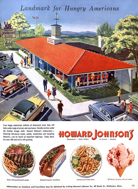 Oh how I miss those HoJo fried clams!elektrotacker:  1955 … hungry Americans by x-ray delta one on Flickr.