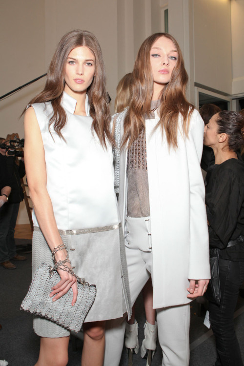 Kendra Spears and Daga Ziober backstage at Paco Rabanne Fall 2012 RTW